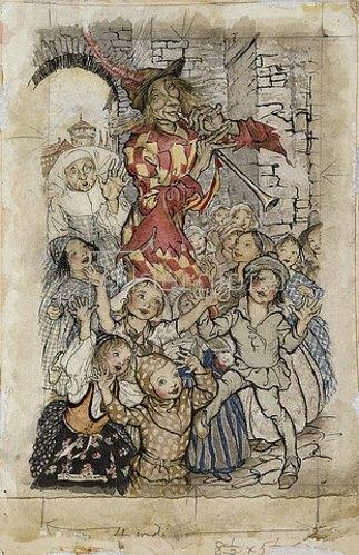 Arthur Rackham: Der Rattenfänger von Hameln.