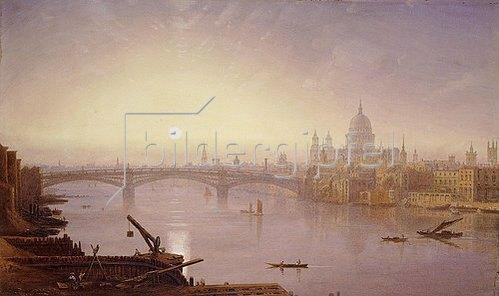 George Fennel Robson: Southwark Bridge und die St. Paul's Kathedrale im Abendlicht.