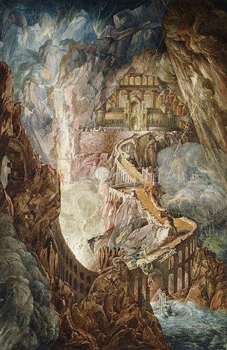 Joseph Michael Gandy: Höllenbrücke (wohl Illustration zu: Das verlorene Paradies von John Milton)
