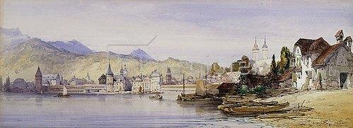 William Callow: Luzern vom Vierwaldstättersee aus. 1862