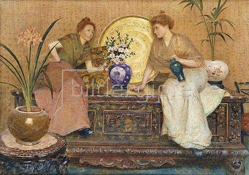 Hector Caffieri: Zwei Damen auf einer Truhe sitzend.