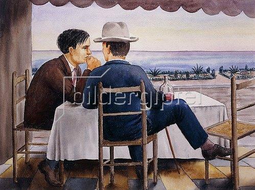 Georg Schrimpf: Auf der Terrasse (Selbstbildnis). 1923