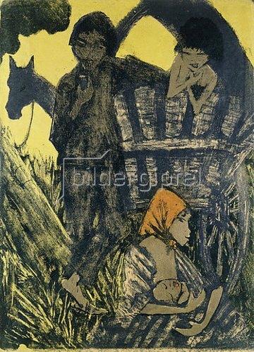 Otto Mueller: Zigeuner Familie am Planwagen.