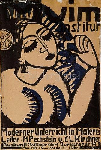 Ernst Ludwig Kirchner: Plakat des Muim Instituts (Moderner Unterricht im Malen). 1911.