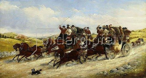 John Charles Maggs: Ein Kutschenrennen von Liverpool nach Manchester. 1880