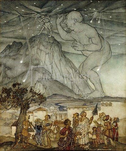 Arthur Rackham: Herkules trägt für Atlas den Himmel (Zeichnung für 'Hawthorne's Wonder Book'). 1922