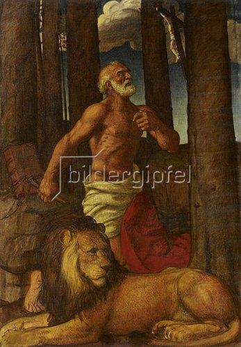 Karl Friedrich (Fritz) Boehle: Der büßende heilige Hieronymus mit dem Löwen. 1905-08