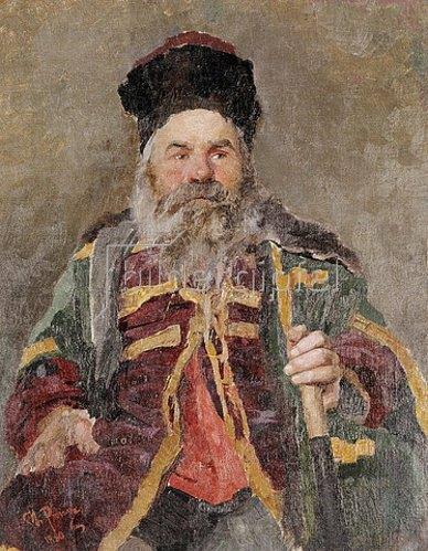 Ilja Efimowitsch Repin: Portrait eines kosakisch Adligen. 1880