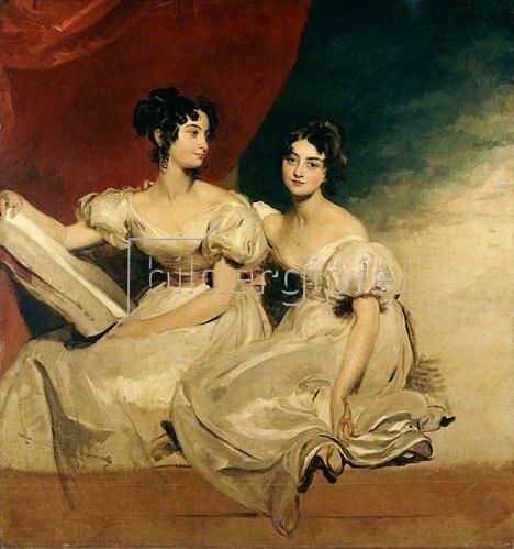 Sir Thomas Lawrence: Doppelbildnis der Fullerton Schwestern in weißen Kleidern.