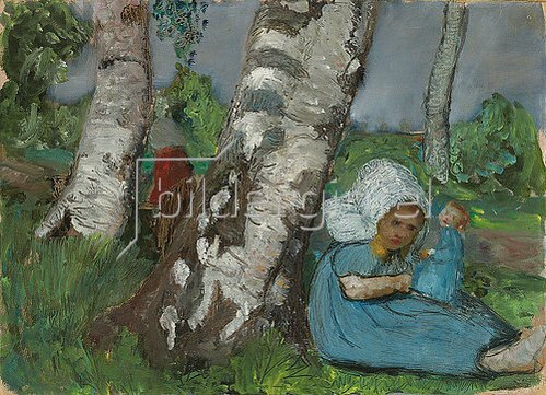 Paula Modersohn-Becker: Kind mit Puppe am Birkenstamm sitzend. Um 1902