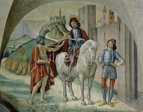 Domenico (T.Bigordi) Ghirlandaio: Der heilige Martin teilt seinen Mantel.