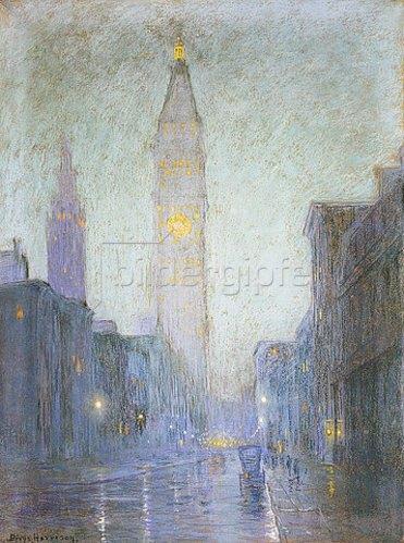 Lowell Birge Harrison: Die Madison Avenue in der Dämmerung. Um 1911