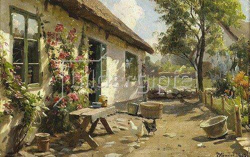 Peder Moensted: Hühner vor einem Bauernhaus. 1917