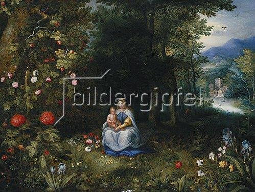 Jan Brueghel d.J.: Madonna mit Kind in einer Waldlandschaft.