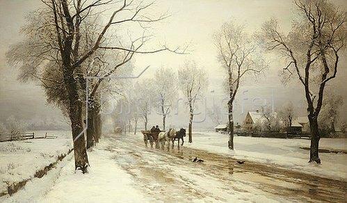 Anders Andersen-Lundby: Winterlandschaft mit Pferdefuhrwerk. 1882