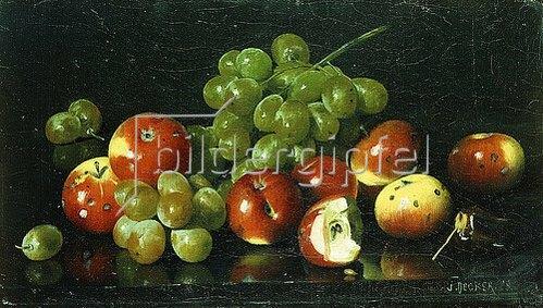 Joseph Decker: Stillleben mit Äpfeln und Trauben.