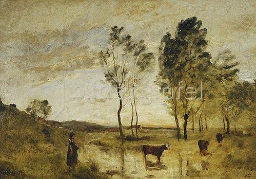 Jean-Baptiste Camille Corot: Die Furt, Kühe an einer Furt. Um 1870-73