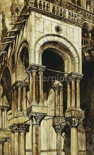 John Ruskin: Der südwestliche Portikus des Markusdom, Venedig.