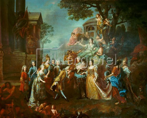 Joseph Vivien: Allegorie auf die Wiedervereinigung des Kurfürsten Max Emanuel mit seiner Familie. 1715