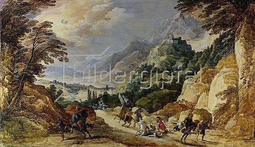 Joos de Momper d.J.: Landschaft mit der Bekehrung des Paulus. Wohl 1620er