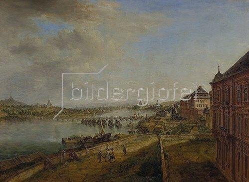 Christian Georg Schütz d.Ä.: Ansicht des Mainzer Rheinufers von der Martinsburg her. 1783.