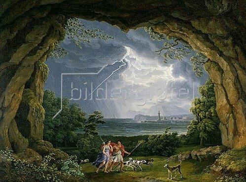Jacob Philipp Hackert: Aeneas und Dido flüchten vor dem Unwetter in eine Grotte. 1804