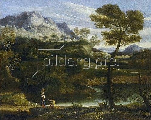Jean-François Millet: Berglandschaft mit Wasserträgerin. Um 1660/70