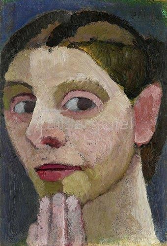 Paula Modersohn-Becker: Selbstbildnis mit Hand am Kinn. 1906/07