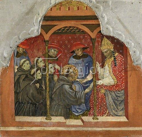 Taddeo di Bartolo: Sechs Darstellungen aus dem Leben des hl. Franz von Assisi: Papst Innozenz III. bestätigt den Orden.