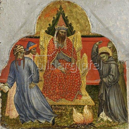 Taddeo di Bartolo: Sechs Darstellungen aus dem Leben des hl. Franz von Assisi: Franziskus vor dem Sultan von Babylonien.