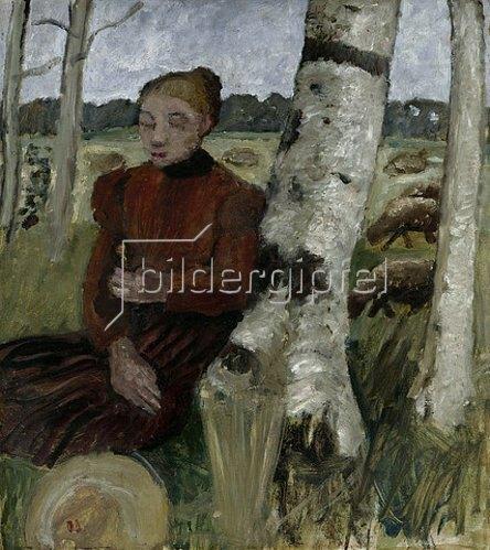 Paula Modersohn-Becker: Mädchen am Birkenstamm ruhend, Schafherde im Hintergrund. 1903