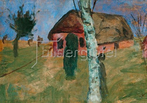 Paula Modersohn-Becker: Rotes Haus mit Birke. Um 1906