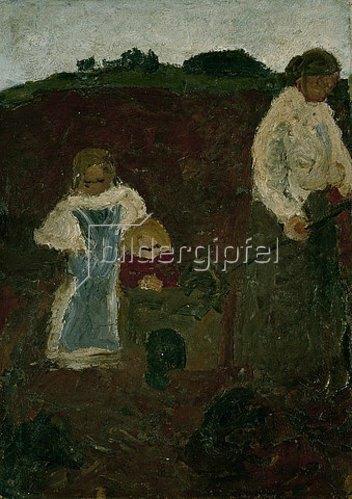 Paula Modersohn-Becker: Frau mit Kindern in der Torfkuhle. 1900
