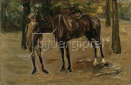 Max Liebermann: Reitknecht mit Pferd im Park. 1912