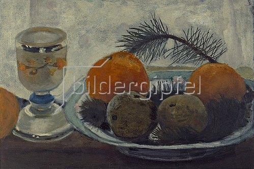 Paula Modersohn-Becker: Stillleben mit Mattglasbecher, Äpfeln und Kiefernzweig. Um 1902