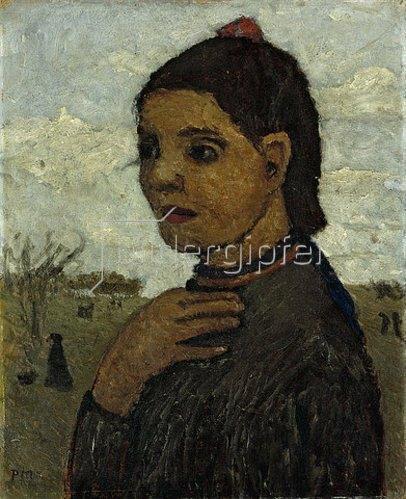 Paula Modersohn-Becker: Brustbild eines italienischen Mädchens vor Landschaft. 1906