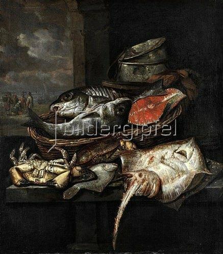 Abraham van Beyeren: Bank eines Fischhändlers.