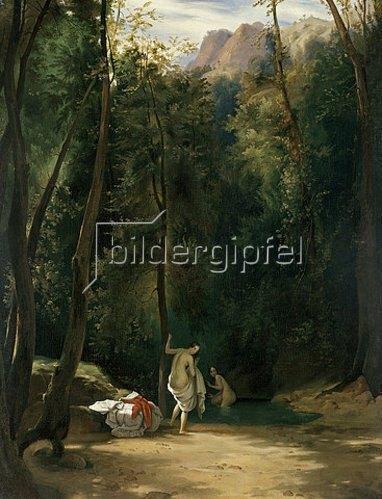 Carl Blechen: Badende Mädchen im Park von Terni. Zwischen 1829 u. 1835, vermutlich 1834