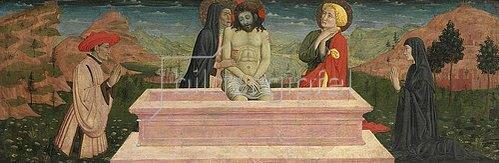 Giovanni Francesco da Rimini: Imago pietatis mit Maria und Johannes und einem Stifterpaar.