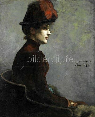 Lovis Corinth: Damenbildnis im Rechtsprofil. 1886