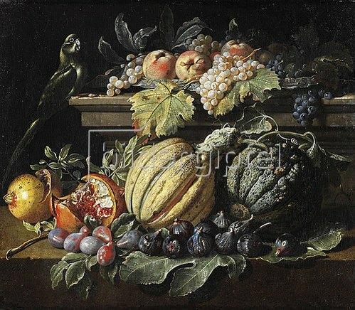 Jacopo da (eigentlich Jacob van de Kerckhoven) Castello: Fruchtstück mit Melonen, Weintrauben, Feigen, Granatäpfeln, Pfirsichen und einem Papagei.