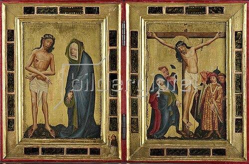 Oberdeutsch: Diptychon mit Stifterfigur. Um 1420