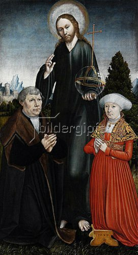 Hans Johann Kemmer: Christus als Salvator Mundi zwischen zwei knienden Stiftern. 1537