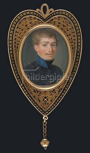 Deutscher Maler: Junger Mann in Husarenuniform. Um 1810-20