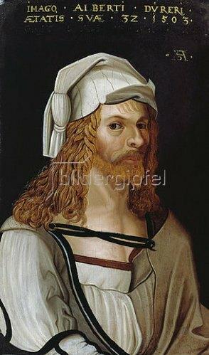 Albrecht Dürer: Bildnis Albrecht Dürers (im Ausschnitt nach Dürers Selbstportrait).
