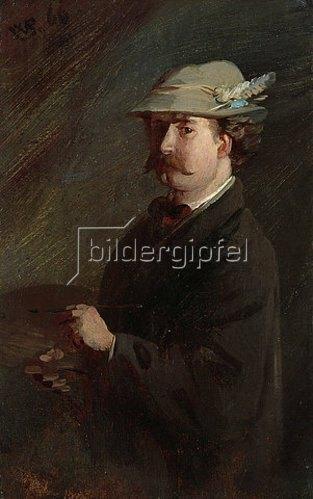 Wilhelm Busch: Selbstbildnis mit Federhut und Palette. 1866