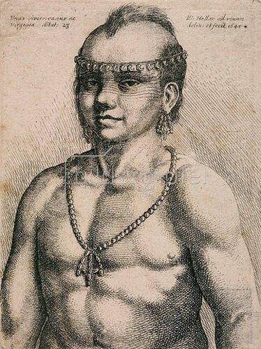 Wenzel Hollar: Unus Americanus ex Virginia. 1645