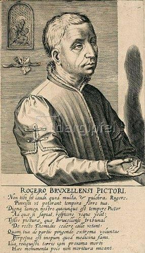 Hendrik Hondius: Rogier van der Weyden. Aus: Pictorum aliquot celebrium praecipuae germaniae inferioris effigies, hg. von H. Hondius, Den Haag 1610/18