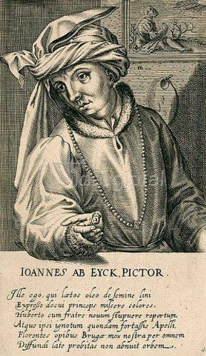 Hendrik Hondius: Jan van Eyck. Aus: Pictorum aliquot celebrium praecipuae germaniae inferioris effigies, hg. von H. Hondius, Den Haag 1610/18