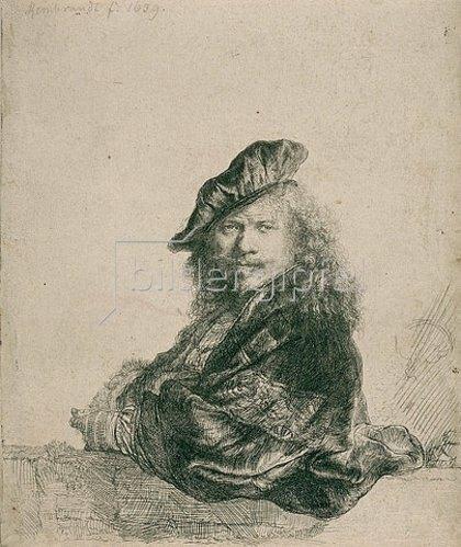 Rembrandt van Rijn: Selbstbildnis mit aufgelehntem Arm. 1639